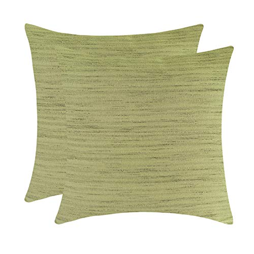 The White Petals Olive Green Pillow Cases for Sofa, Couch & Bed (18x18 inch, Pack of 2)