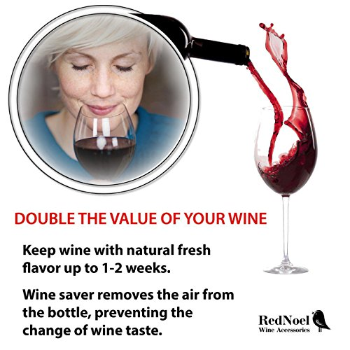 Wine Vacuum Bottle Preserver Saver - for Wine Preservation - Best Wine Sealer Kit - with 3 Vacuum Re-usable Wine Stoppers - Black by RedNoel (Image #3)