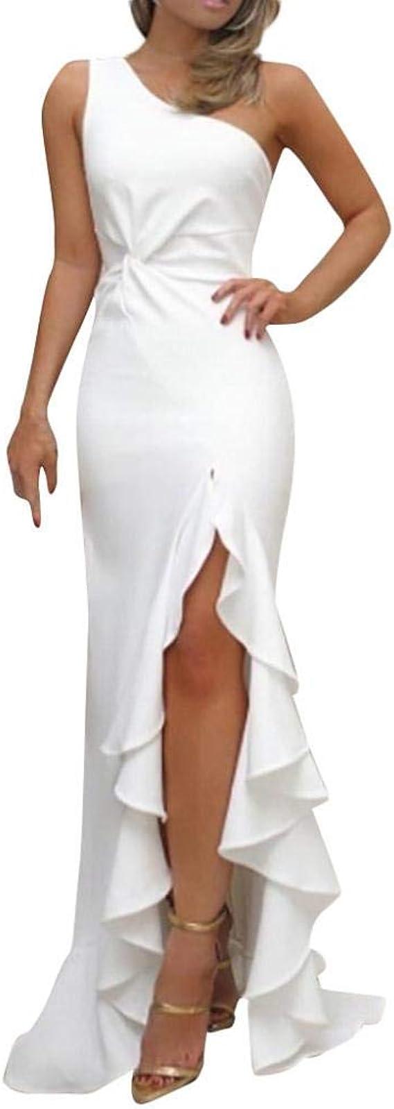 VJGOAL Mujer Color sólido Sexy Sin Mangas Un Hombro Fruncido Volantes Split Vestido de Fiesta de Noche Formal Vestidos Largos Delgados: Amazon.es: Ropa y accesorios