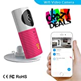 3T Cleverdog Indoor Mini WiFi Network Camera IP Wireless Camera Motion Detective with IR Night Vision Support iPhone Android APP Remote View Loop Recording (INDOOR, PINK)