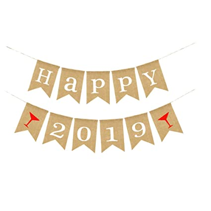 happy 2019 banner happy new year banner burlap vintage happy new year holiday bunting garland decorations