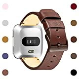 HUMENN For Fitbit versa Bands, Replacement Classic Genuine Leather Wristband with Metal Connectors For Fitbit Versa Smartwatch Women and Men