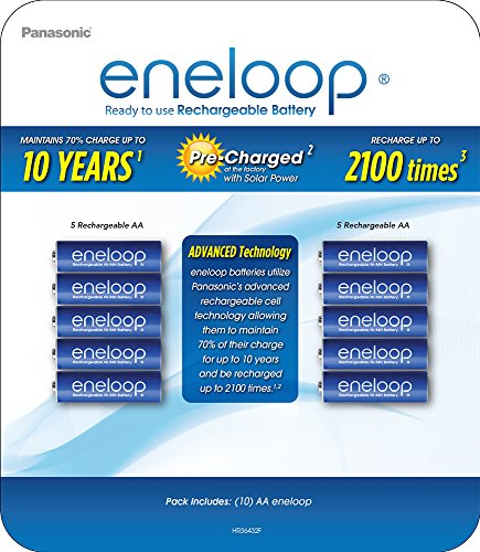 Panasonic BK-3MCA10BCZ eneloop AA 2100 Cycle Ni-MH Pre-Charged Rechargeable Batteries (Pack of 10)