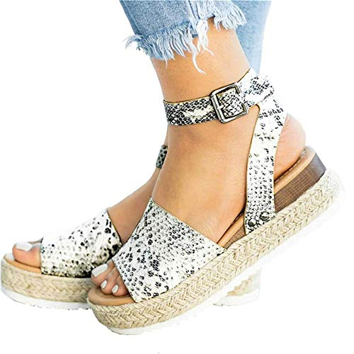 Mafulus Womens Espadrilles Platform Sandals Wedge Ankle Strap Studded Open Toe Summer Sandals (Animal Print Platform)