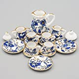 Odoria 1:12 Miniature 15PCS Blue Porcelain Chintz Tea Cup Set with Golden Trim Dollhouse Kitchen Accessories