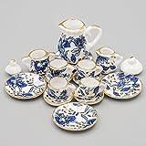 #7: Odoria 1:12 Miniature 15PCS Blue Porcelain Chintz Tea Cup Set with Golden Trim Dollhouse Kitchen Accessories