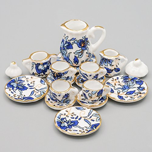 Odoria 1:12 Miniature 15PCS Blue Porcelain Chintz Tea Cup Set with Golden Trim Dollhouse Kitchen Accessories - Miniature Ceramic Tea Set