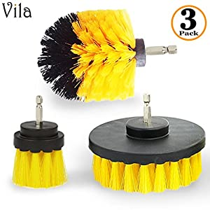 Vila Drill Brush by Attaches to Any Drill - Effectively Removes Carpet Stains, Bathroom and Tile Grime - Save yourself Time and Energy with this cleaning tool