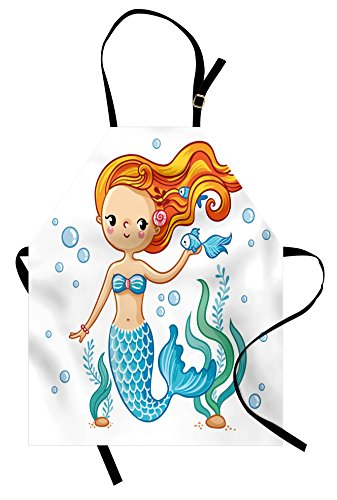 Lunarable Cute Apron, Swimming Cartoon Mermaid Fantastic Oceanic Underwater Life Magic Fairy Character, Unisex Kitchen Bib Apron with Adjustable Neck for Cooking Baking Gardening, Orange Blue Nude