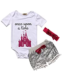 Baby Girls Clothes Set White Top letter Print Romper+Grey Shorts+Bow Headband