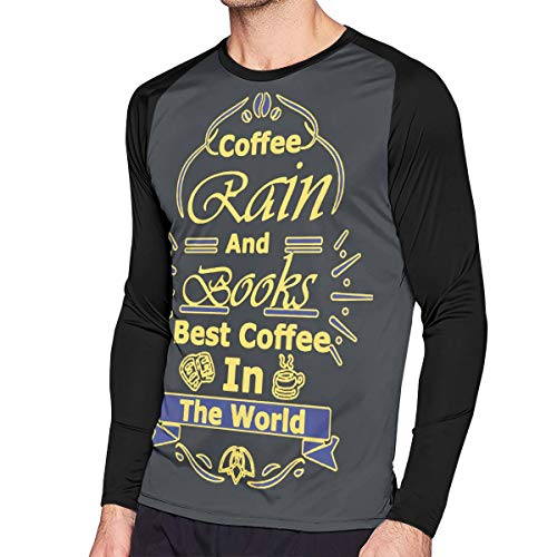 Crazy Popo Men's Casual Coffee Rain and Books Best Coffee Long Reglan Jersey Baseball T-Shirt -