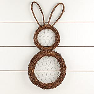 Factory Direct Craft Natural Grapevine and Chicken Wire Bunny Wreath for Spring and Easter Decor 92