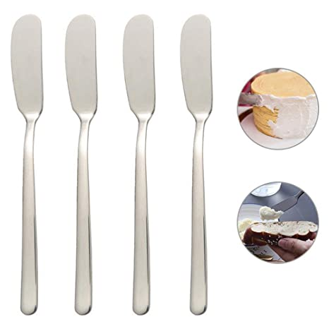 AOLVO - Juego de 4 Cuchillos de Mantequilla de Acero Inoxidable con Acabado de Espejo y diseño Pulido, para Mantequilla de maní Color Crema, 16,8 cm