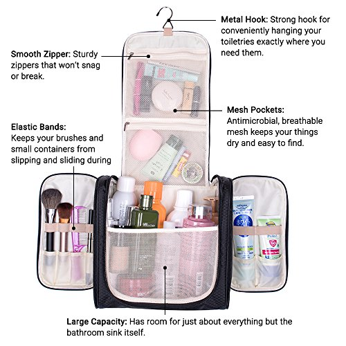 Travel Hanging Toiletry Bag, Waterproof Cosmetics Makeup Toiletry Organizer, Compact Bathroom Storage Organizer, Travel Kit Perfect For Beauty Accessories, Personal Items, Shampoo and Body Wash by MIU COLOR (Image #3)