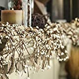 Factory Direct Craft Natural Burlap and White Pip Berry Garland for Everyday Home Decor and Holiday Display