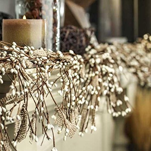 Factory Direct Craft Natural Burlap and White Pip Berry Garland for Everyday Home Decor and Holiday Display -