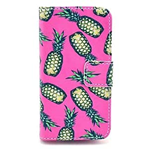 DD Yellow Pineapple Pattern on Rose PU Leather Full Body Case for iPhone 4/4S