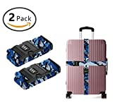 YEAHSPACE Luggage Strap Blue Camo Shark 2PC Set Suitcase Betlt Travel Belts With 3-dial TSA Combination Lock