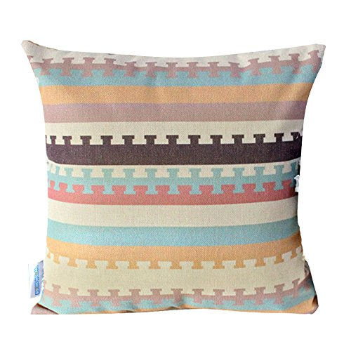 """WOMHOPE 4 Pcs - 17"""" Colorfull Geometry Style Cotton Linen Square Throw Pillow Case Decorative Cushion Cover Pillowcase Cushion Case for Sofa,Bed (Geometry A (Set of 4))"""
