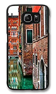 VUTTOO Rugged Samsung Galaxy S6 Edge Case, Venice Street Buildings Red Brick Customize Hard Back Case for Samsung Galaxy S6 Edge PC Black