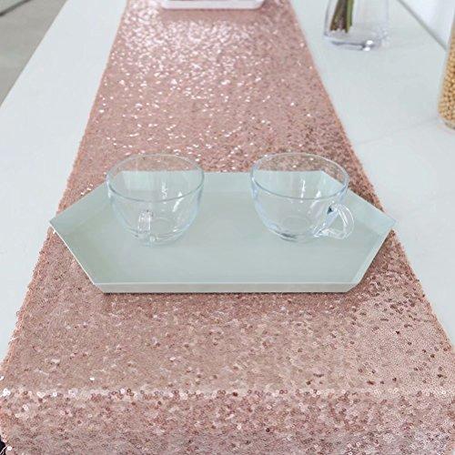- GFCC Glitter Sequin Table Linens, Rose Gold 12