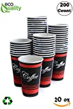 Extra Large 20 oz 200 Count by EcoQuality - Classic Durable Disposable Paper Cups For Hot/Cold Drink, Coffee, Tea, Cocoa, Travel, Office, Restaurant, Concession Stand - 20 Ounce Cups, 200 Count Cups