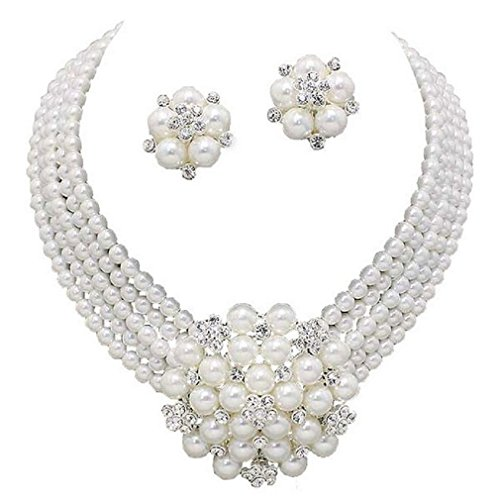Elegant Statement White Pearl Cluster Crystal Bridal Silver Chain Necklace Set CLIP ON -