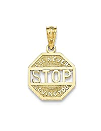 14k Gold Polished I'll Never Stop Loving You Pendant