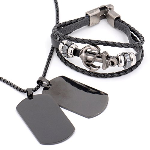 (Mens Jewelry Set [2 Pack] - Stainless Steel Blank Dogtags [Military Black Ops] with Leather Anchor Bracelet)