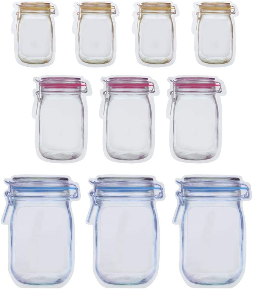 10 Pieces Mason Jar Pattern Food Saver Storage Bags Set Airtight Reusable Bottle Modeling Zippers Food Container Kitchen Organizer Children's Snacks Fresh Bags