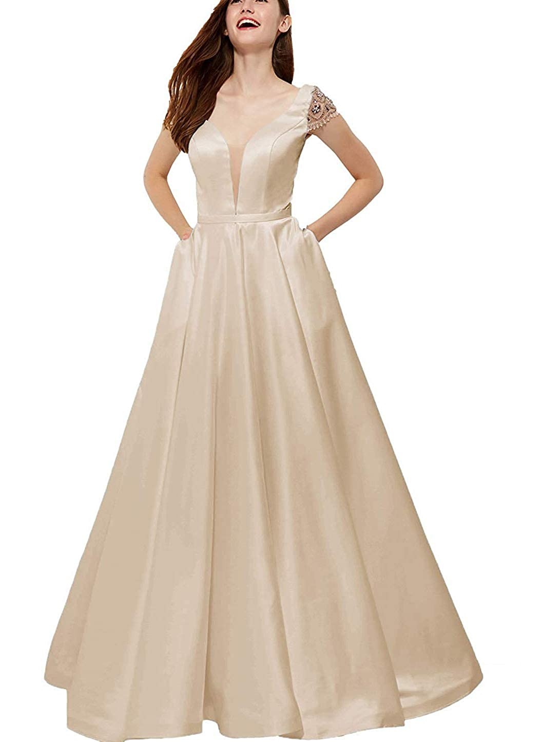 Champagne V Neck Beaded Prom Gown Long Satin Backless Aline Formal Evening Dress with Pockets