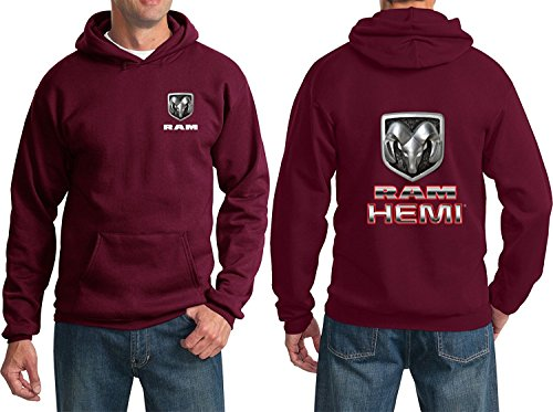 RAM Hemi Logo Dodge Emblem Mopar Badge Sweatshirt Hoodie(F&B), Maroon, XL