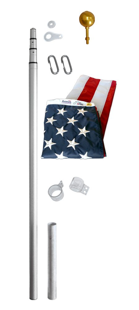 American Flag and Flagpole Set - 21 ft. 4 Section Telescoping Aluminum Pole with US Flag 3x5 ft. SolarGuard Nylon by Annin Flagmakers, Liberty Kit Model 320901