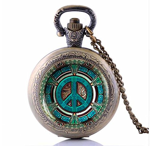 Steampunk Hippie Pendant Pocket Watch Vintage Peace Sign Men's jewelry Gift - Peace Sign Trendy