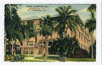(Hotel Albemarle Linen Postcard St Petersburg Florida 1949)
