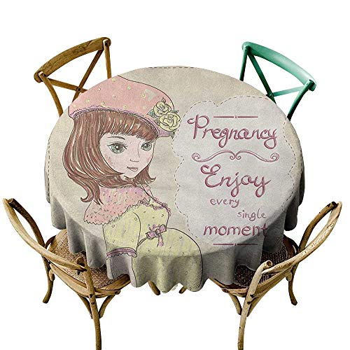 Wendell Joshua Yellow Tablecloth 60 inch Quotes,Pregnancy Enjoy Every Single Moment Clipart Pregnant Woman Dress Hat, Eggshell Pink Multicolor Suitable for Indoor Outdoor Round Tables