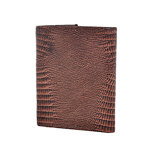 LEATHER OF INDIA Men's Leather Wallet Trifold - Embossed Lizard 8 X 10 X 1 Cm (Lizard Tri Fold)