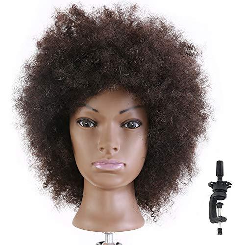HAIREALM Afro Mannequin Head 100% Human Hair Head Hairdresser African American Training Head Manikin Cosmetology Doll HI28D