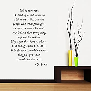 Great Boodecal Dr Seuss Series Inspirational Quote Wall Decals Life Is Too Short  To Wake Up In Part 15