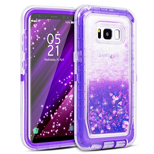 Galaxy S8 Plus Case, Dexnor Glitter 3D Bling Sparkle Flowing Liquid Case Transparent 3 in 1 Shockproof TPU Silicone Core + PC Frame Case Cover for Samsung Galaxy S8 Plus - Purple