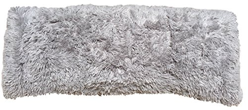 Luxurious Faux Fur Body Pillow Cover with Long Hair, Removable with Sturdy Zipper Closure, Ultra Soft For More Comfort and Fits up To 20 X 54 in Body Pillow (Choice of Colors) (SILVER)