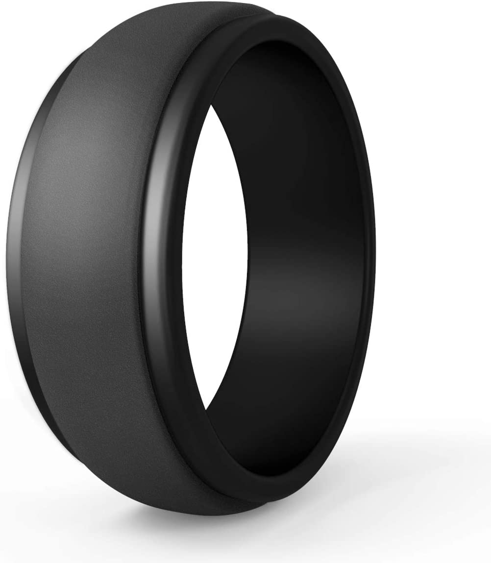 This is a graphic of POPCHOSE Silicone Wedding Ring, Silicone Rubber Wedding Band for