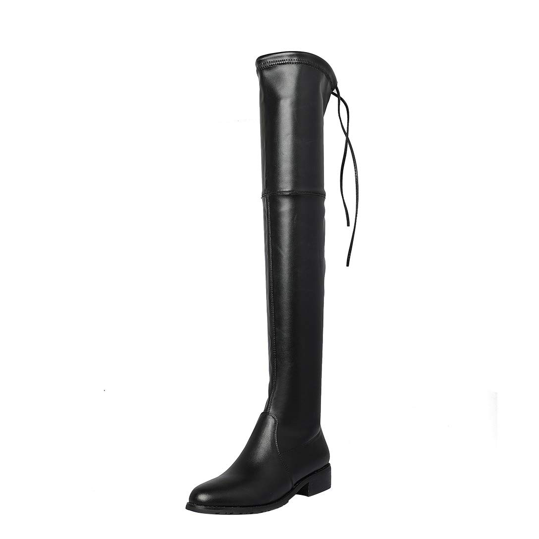 Black MAYPIE Womens Toannoy Leather Slip-on Over-The-Knee Boots