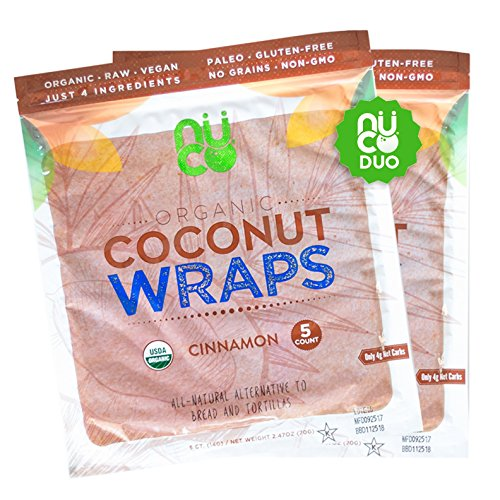 All-Natural, Paleo, Gluten Free, Vegan Non-GMO, Kosher Raw Veggie NUCO Coconut Wraps Cinnamon Flavor. NO Salt Added Low Carb and Yeast Free 10 Count (Two Packs of Five Wraps -