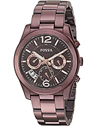 Womens ES4110 Perfect Boyfriend Sport Multifunction Wine Stainless Steel Watch