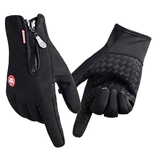 FHSom Men/Women Winter Zipper Silica Gel Pad Anti-slip Full Finger Fleece Lined Warm Touch Screen Cycling Gloves