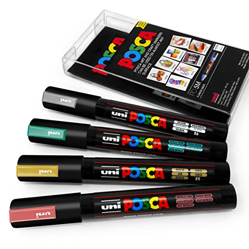 POSCA Colour Tones - PC-5M Art Marker - Set of 4 - In Plastic Wallet - Autumn Metallic