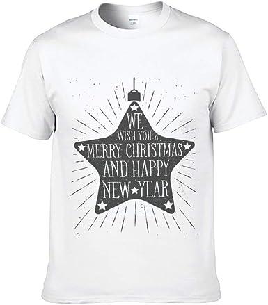 Mesllings - Camiseta de Manga Corta para Hombre, diseño de Estrellas, Color Blanco: Amazon.es: Ropa y accesorios