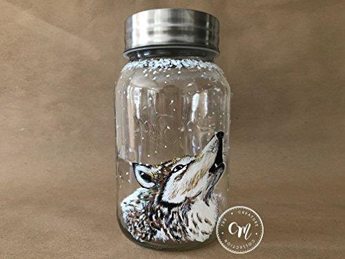 Hand Painted Mason Jar Wolf Candle Holder