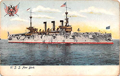 Military Battleship Postcard, Old Vintage Antique Military Ship Post Card USS New York Unused